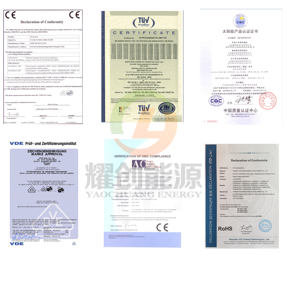 certificates of solar power system for home