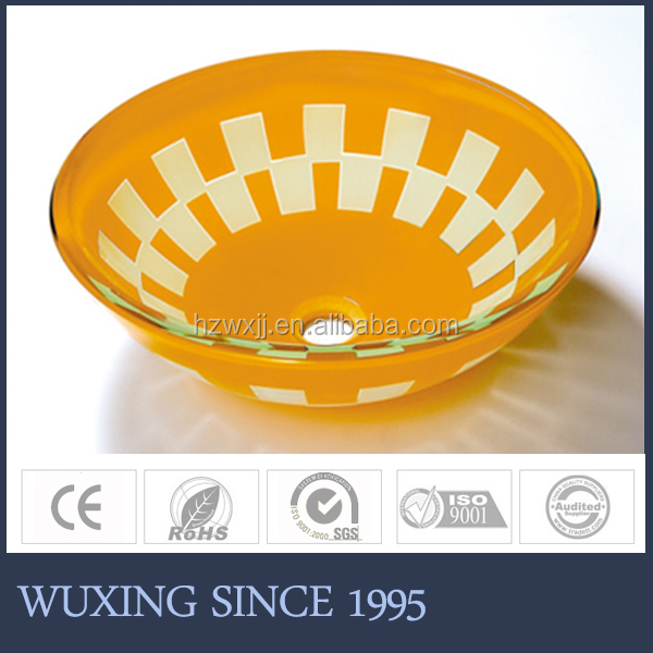 [WX] China hot selling double layer printed yellow bowl bathroom wash sink for stainless steel stand