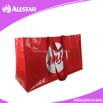 pp woven glossy artwork lamination shopper bag for promotion