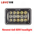 High power 60w 4x6 rectangle headlight for jeep truck 5 inch led high low light
