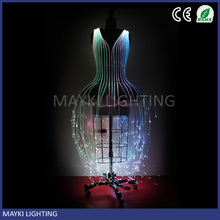 Chic wedding dress fiber optic dress with RGB color changing pmma fiber optic cable