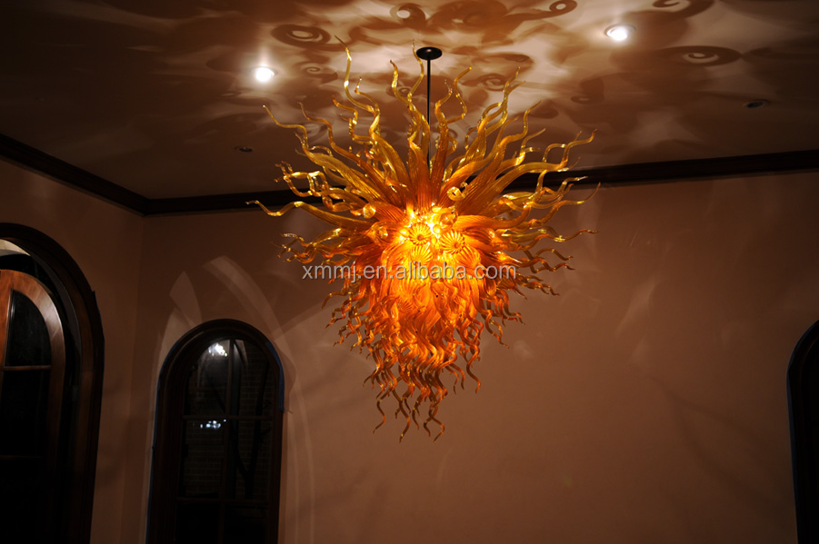 Hand blown art oral shaped swirl glass modern chandelier for high ceilings