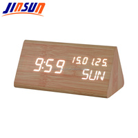 Wooden Led Calendar Clock With Temperature Battery Operated And DC