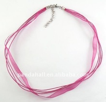 Cotton Wax Cord and Organza Ribbon, with Iron Findings, Magenta, Size: about 430mm long, 6mm wide(FIND-R001-4)