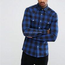 2017 New Spring Men's Blue And Black 100% Cotton Soft Flannel Long Sleeve Shirt