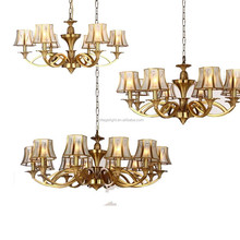 Guzhen Modern Glass Chandelier Vintage Retro Brass Copper Metal Chandelier Lustrous Patterned Glass Lampashade Hanging Lighting
