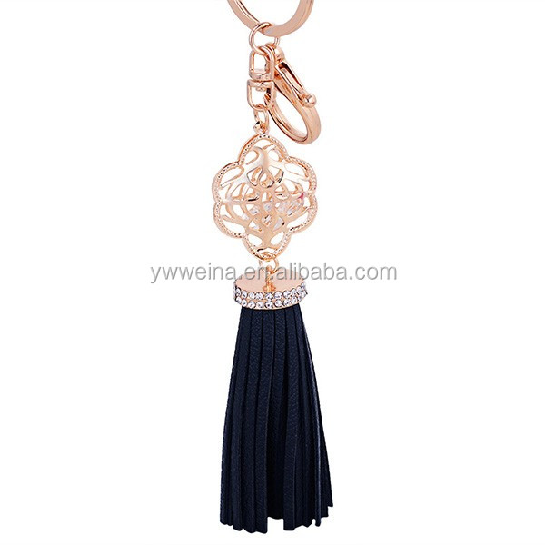 2016 new gold metal crystal leather charm fringe tassel keychain