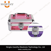 2015 New Fashion High Quality Transparent Aluminum Make up Train Case Acrylic Case Beauty Case