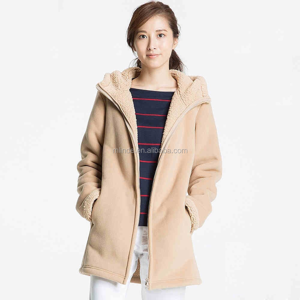 wholesale china guangzhou cream taupe wool midi turkey trench polar fleece zip up hoodie fur women winter coat