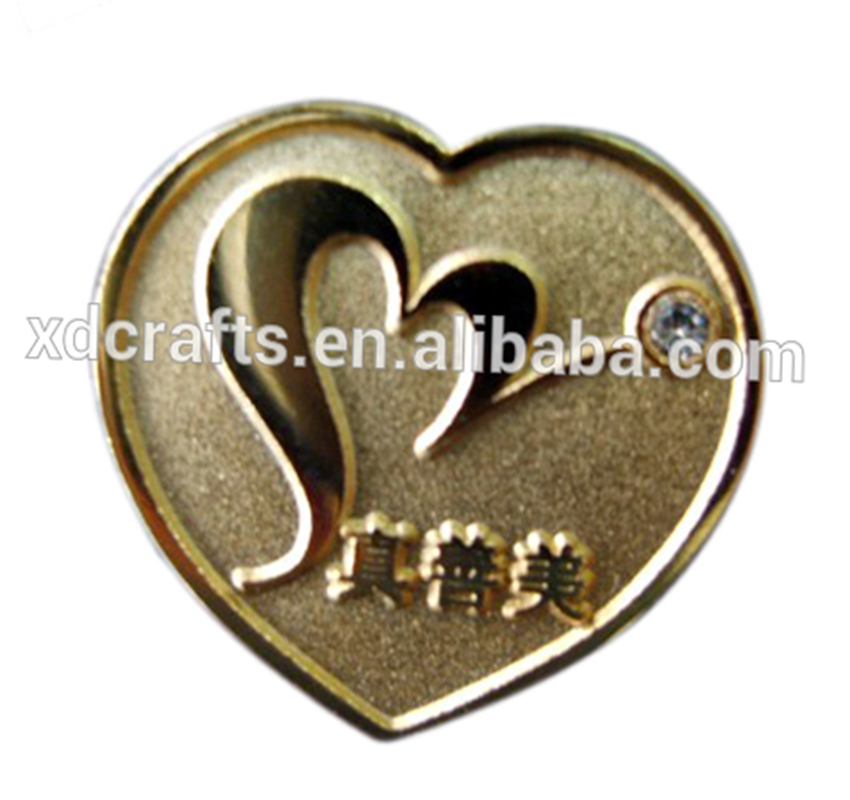 Promotional Metal iron stamped imitation hard enamel comapny employee name pin badge