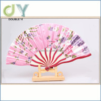 Popular decorative Style Silk Bamboo Lady silk fabric dancing fans Wholesale / decorative fabric folding fan