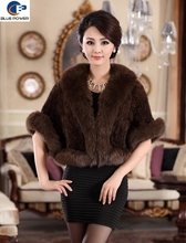 Fashion Design Real Knitted Mink Fur with Fox Fur Trimming Front Fly Women Jacket with Half Sleeves Fox Cuffs