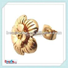 Brass earstud component of gold plated jewelry