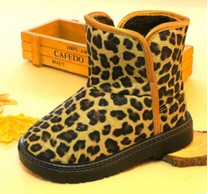 Fashion hot selling children warm boots kids snow winter leopard printed boots