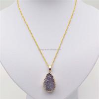 30mm Natural Geode Semi Precious Stones Necklace