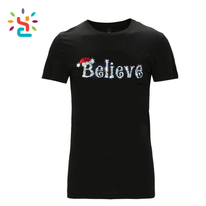 Simple French t shirt pop bling believe tees sport t shirts with custom logo plain t shirt sport tees