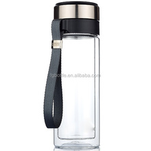 BPA free Glass water bottle with stainless steel tea filter