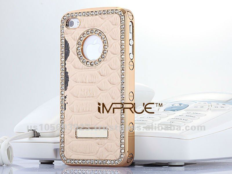 High quality pear leather crystal case for iphone4/4s