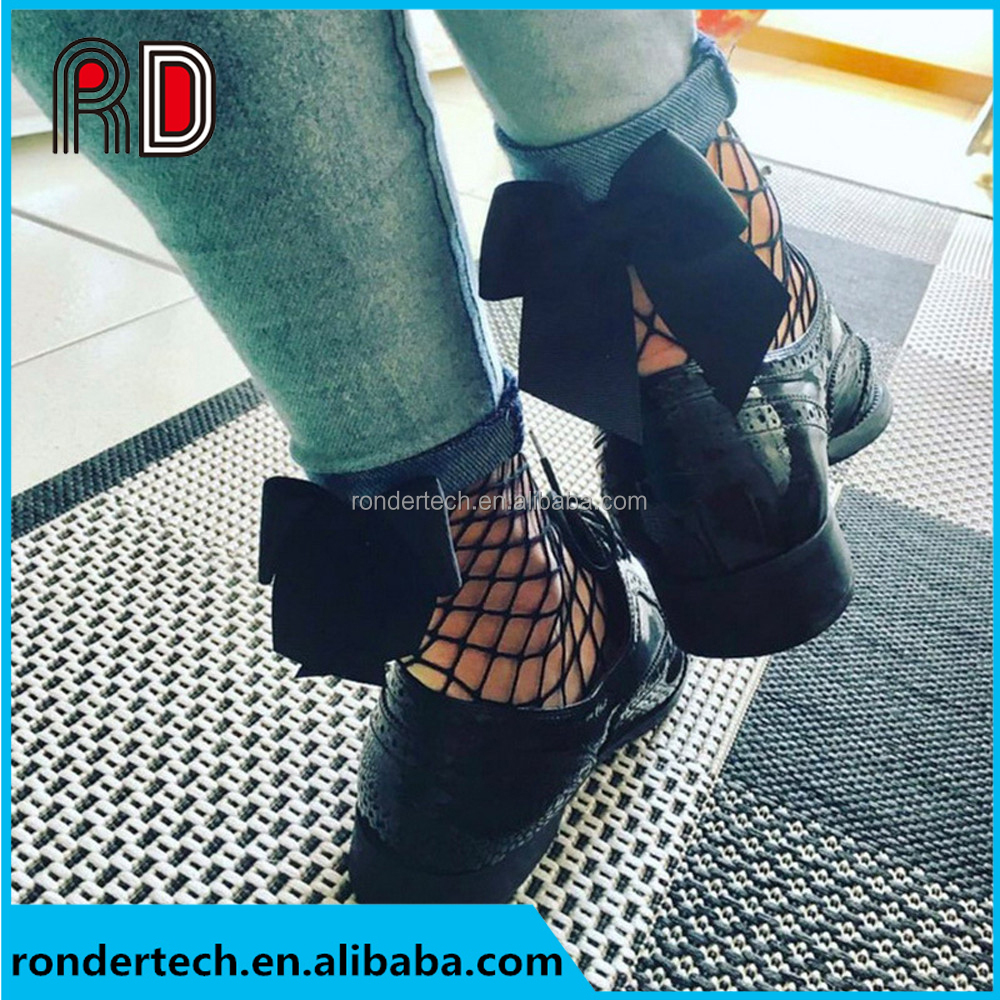 Fashion Summer Women Ruffle Large Fishnet Ankle High Socks Bow Tie Mesh Lace Fish Net Short Socks Chaussettes Femme Black