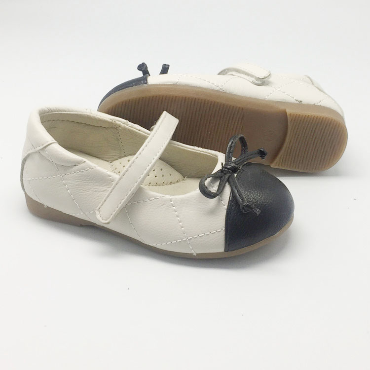 Black+white baby ladies soft leather shoes for dressing