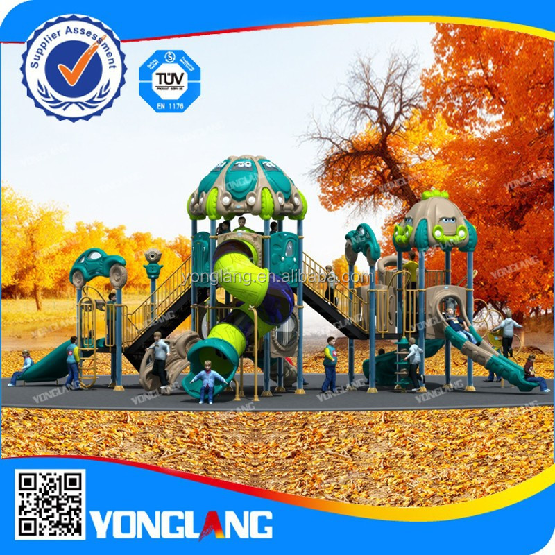 Hot sale Large Size of Car roof and transparent tube slide with funny kids and children games playground for sale