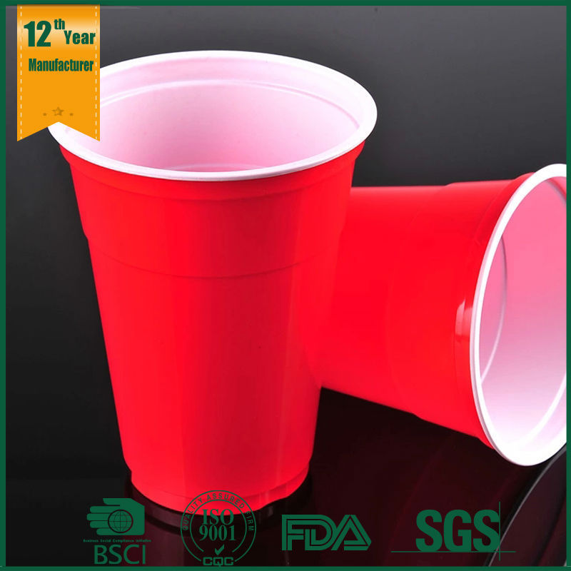16oz PS material beverage use plastic party red cup ,joyshaker cup free sample, gelato packaging cup