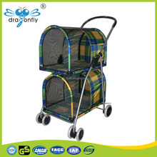 pet stroller dog kennel twin dog stroller puppy soft fabric trolley exercise pen folding stroller