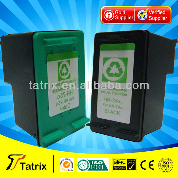 High Volume 74 Remanufactured Ink Cartridge for HP 74XL 75xl With chip