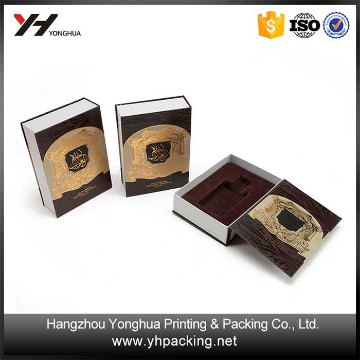 Paper Booking Open Packaging Box With Flocking Insert for cosmetic industry used
