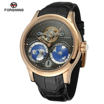 2017 New Fashion Men Automatic With Genuine Leather Stainless Steel Watch