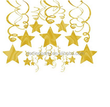 happy new year Gold Foil Star Hanging Decorations