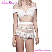 2016 Wholesale Cheap Lace Sexy White Transparent Bikini For Ladies