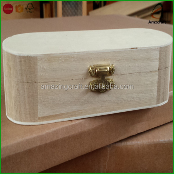 Handmade Unfinished Oval Shape Wooden Keepsake Box