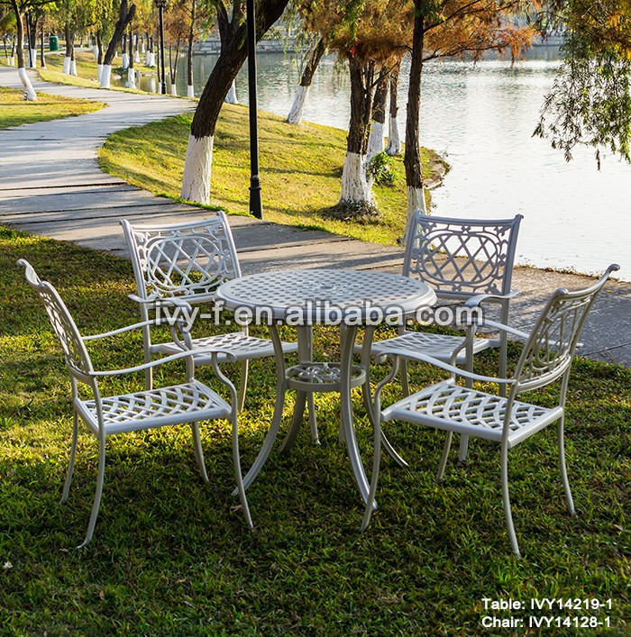 lawn furniture cast aluminum garden furniture white/embossed metal furniture/outdoor metal table and chairs