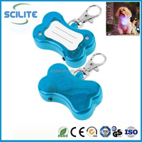 Pet Dog Cat LED Flash Bone Safety Pendant Collar Circular Light Clip Visable UF