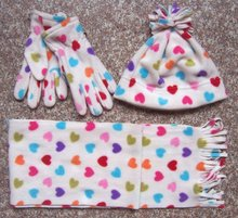 kids children printed polar fleece scarf hat glove set