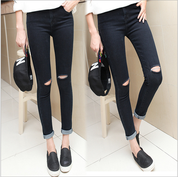 new fashion simple low waist hole elasticity women jeans
