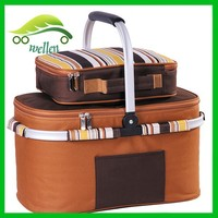 4 Person brown picnic set picnic basket cool bag,thermos picnic backpack