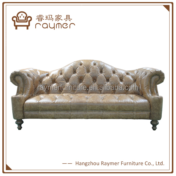 Classica living room tufted top Genuine leather Chester couch
