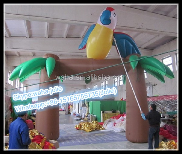 Archway!!!Hot Sale Advertising Replica Inflatable/Palm Tree with Parrot Stand On W-10259