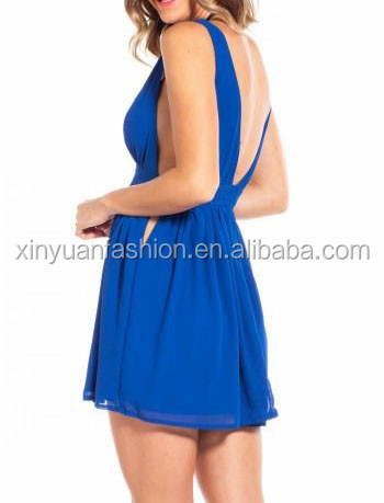 Fashionable deep v-neck sexy club dress exotic chiffon prom dress