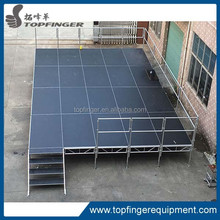 Adjustable aluminum portable modular stage systems
