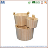 round shape home decorate small wooden bucket, natural color wooden bucket