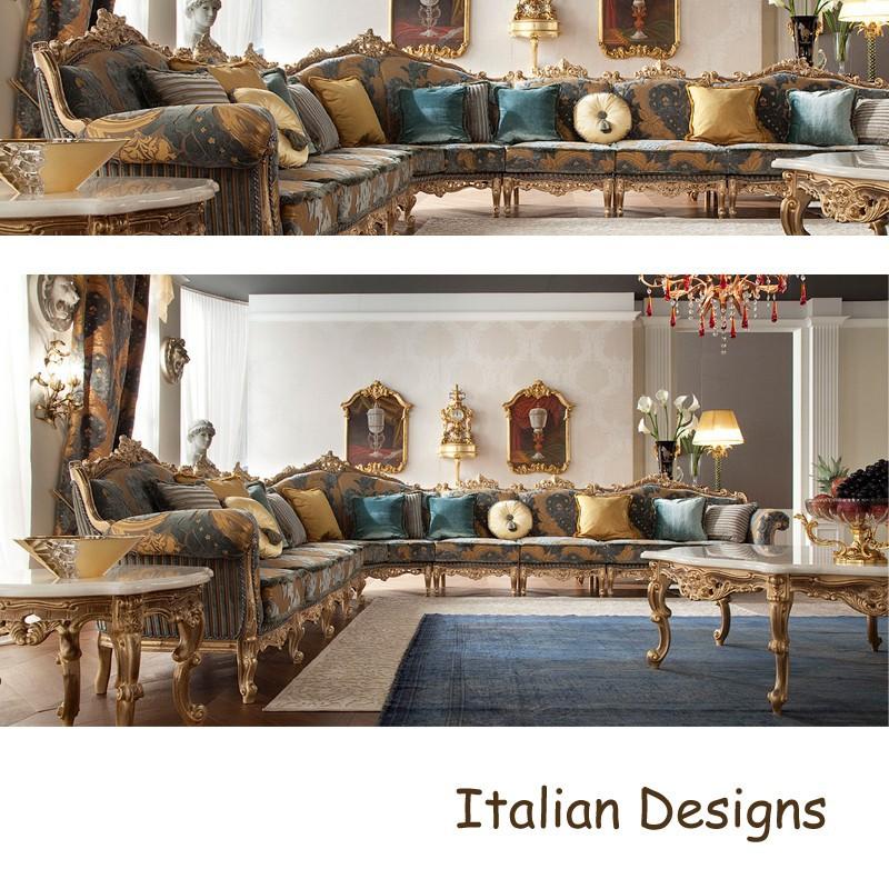 Aesthetic Italian Sofa Designs Classic Living Room Furniture Inlaid Sofa For Living Room Luxury