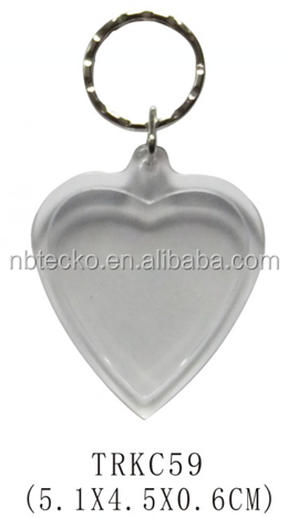 Hot selling heart shape clear plastic photo frame keychain
