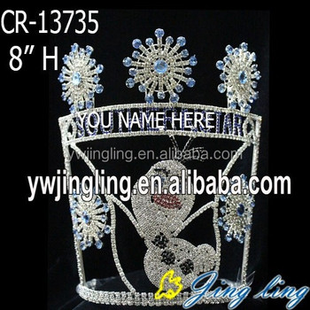 Custom holiday frozen olaf and snowflake pageant crowns
