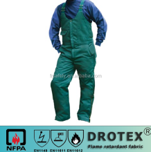ASTMFindustrial bib pant welding pants lake blue woven 100% cotton EN11611 EN1149 fire retardant & anti-static 280GSM BIB pant