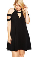 Black Plus Size Cold Shoulder Swing Dress Black Party Dress For Fat Girls