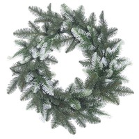 Artificial white christmas wreath 50cm diameter