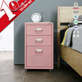 European Style Metal 3 Drawers Bedside Cabinet Steel Nightstand Design